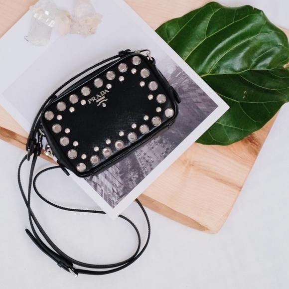 cdc6893aa1c12f Prada Bags | Saffiano Rhinestone Studded Crossbody Bag | Poshmark